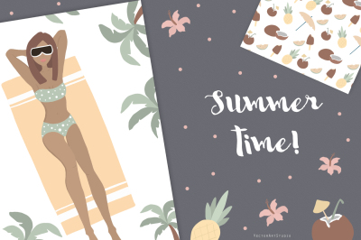 Summer time! Vector, patterns, Cards
