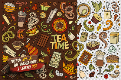 Tea Time Objects & Symbols Set