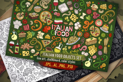 Italian Food Objects & Symbols Set