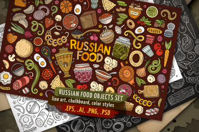 Russian Food Objects & Symbols Set
