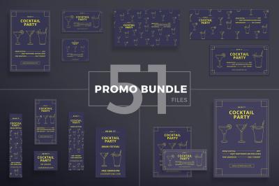 Design templates bundle | flyer, banner, branding | Cocktail Party
