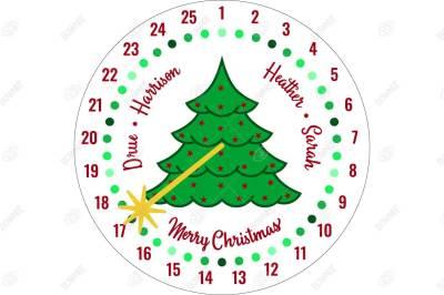 Christmas Tree Advent Christmas Countdown - Stencil Design