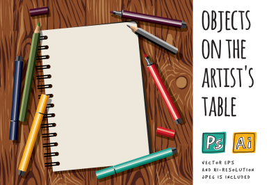 Vector objects on the artist's table