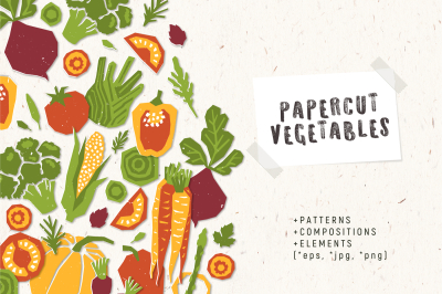 Papercut vegetables
