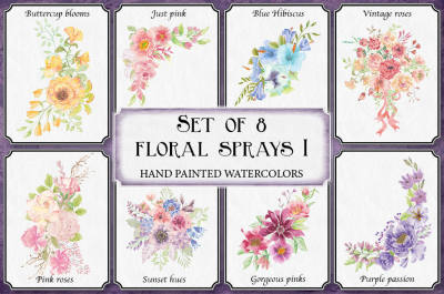 Watercolor floral sprays I: set of 8