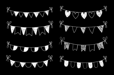 Chalkboard bunting clipart, White hand drawn doodle flags clip art