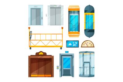 Set of different modern glass elevators