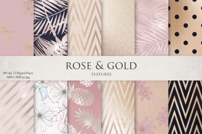 Rose, Gold, Navy Blue, Flowers & Textures