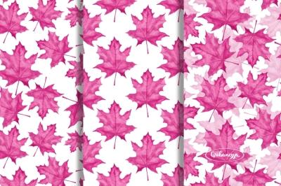 Pink autumn set. Watercolor
