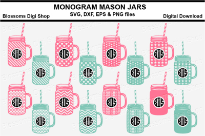 Pattern Fill Monogram Mason Jars