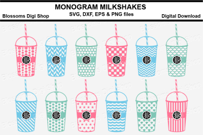 Pattern Fill Monogram Milkshakes