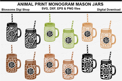 Animal Print Monogram Mason Jars