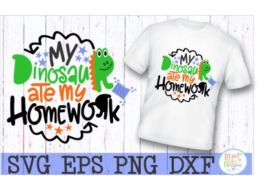 My Dinosaur ate my Homework SVG DXF EPS PNG Cutting File