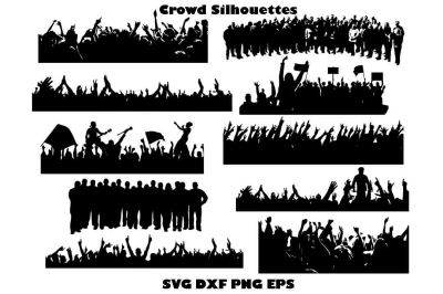 Crowd silhouettes SVG DXF PNG EPS