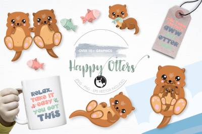 Happy Otters graphics illustrations