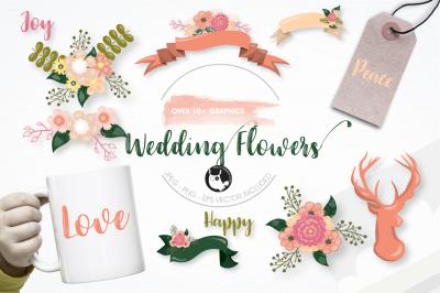 Wedding flowers graphics illustrations