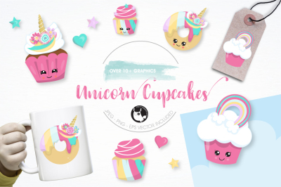 Unicorn cup cakes graphics and illustrations