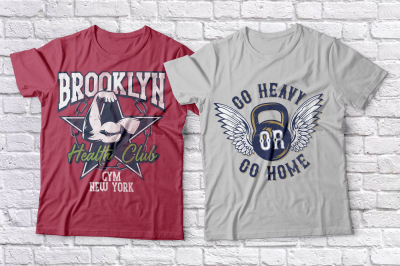 Gym t-shirts design set