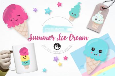 Summer Ice Cream graphics and illustrations