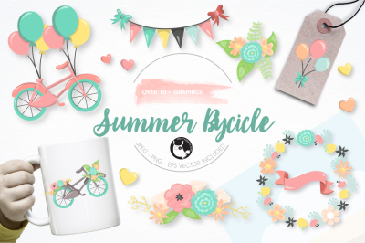 Summer bicycle graphics and illustrations