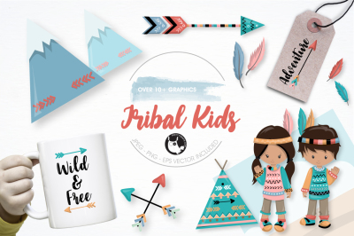 Tribal kids graphics and illustrations