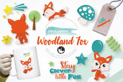 Woodland fox graphics and illustrations