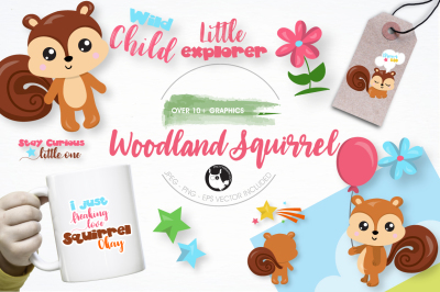 Woodland squirrel graphics and illustrations