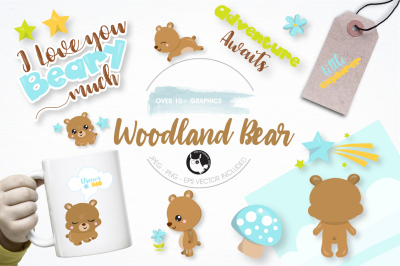 Woodland bear graphics and illustrations