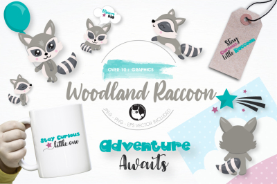 Woodland raccoon graphics and illustrations