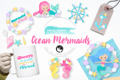 Ocean mermaids graphics and illustrations