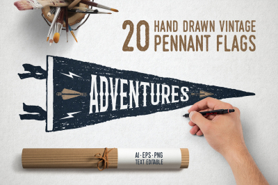 20 Hand Drawn Pennant Flags