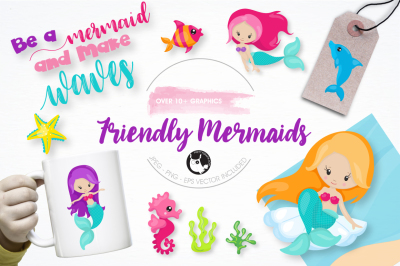 friendly mermaids graphics and illustrations