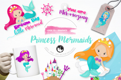 princess mermaids graphics and illustrations