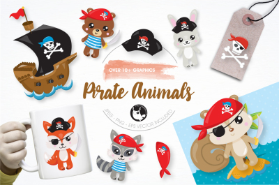 Pirate animals graphics and illustrations