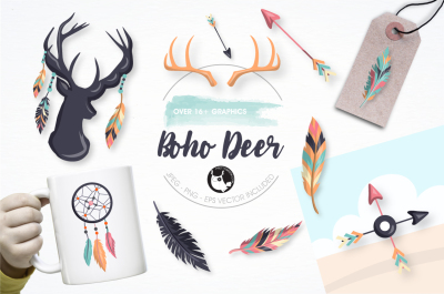 Boho deer graphics and illustrations