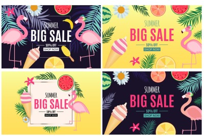 4 Abstract Summer Sale Backgrounds Collection Set. Vector illustration