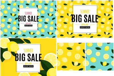 5 Abstract Summer Sale Backgrounds with Lemon Collection Set. Vector i