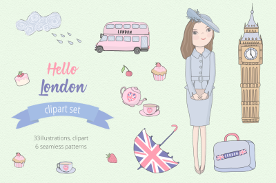 Hello London Illustration Set