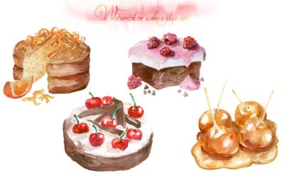 Watercolor Cakes Clip Art