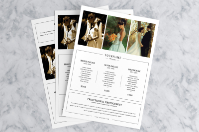 3 Photography Pricing Guide Marketing Flyer
