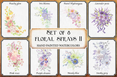 Watercolor floral sprays II: set of 8