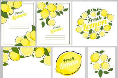 6 Abstract Lemon Natural Backgrounds Collection Set. Vector illustrati