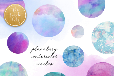 Watercolor Planetary Circle Clipart