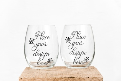2 Stemless wine glass mockups no stem two glasses mockup stock photo