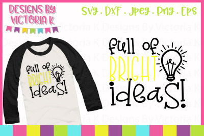 Full pf bright ideas, cut file, SVG, DXF, PNG