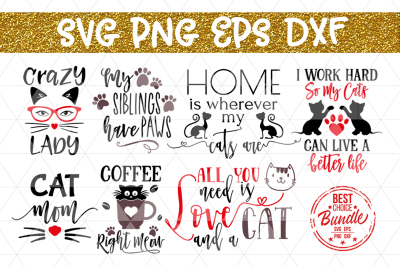Cats Bundle SVG Cut File, Cat Lover Gift SVG, EPS, PNG, DXF