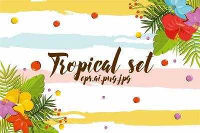 Summer tropical flowers set