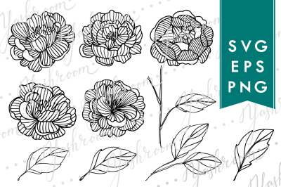 Peony Flowers Silhouette SVG Collection
