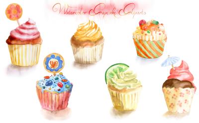 Watercolor Cupcake Cliparts