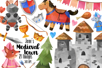 Watercolor Medieval Clipart